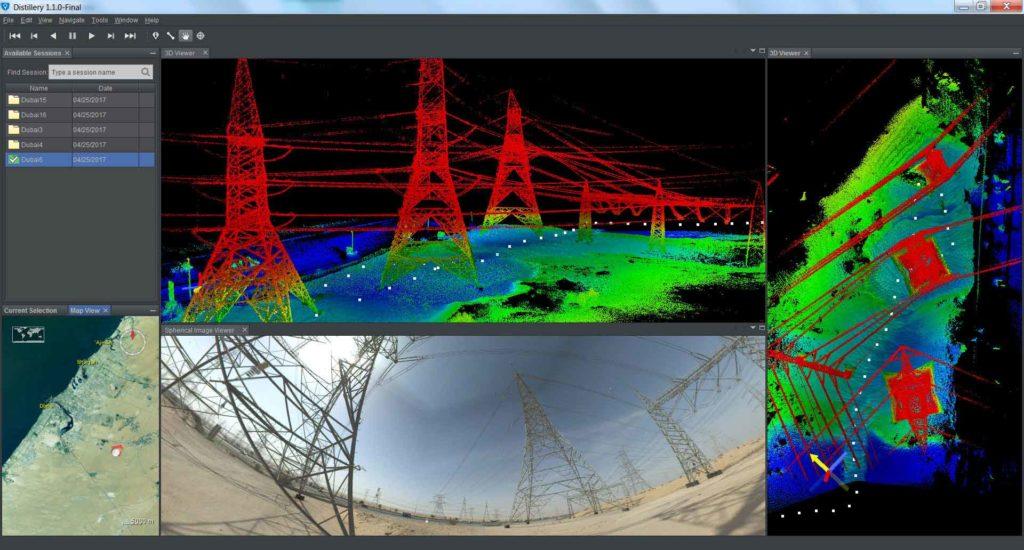 Laserové skenování sloupů a drátů vysokého napětí