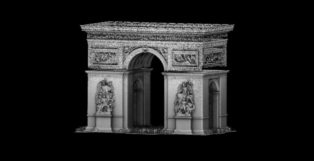 Mobilní laserové skenování Vítězného oblouku v Paříži